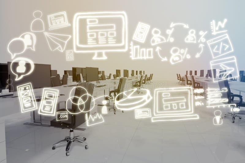Σύνθετη εικόνα της ψηφιακής παραγμένης εικόνας των διάφορων επιχειρησιακών εικονιδίων διανυσματική απεικόνιση