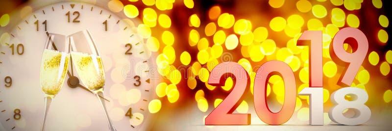 Σύνθετη εικόνα της ψηφιακής σύνθετης εικόνας των αριθμών που αλλάζουν από παλαιό σε νέο έτος ελεύθερη απεικόνιση δικαιώματος