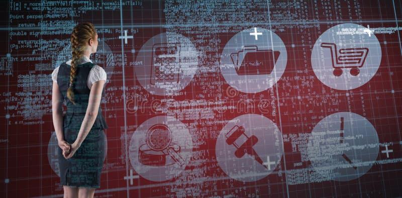 Σύνθετη εικόνα της redhead επιχειρηματία με τα χέρια πίσω από την πλάτη στοκ φωτογραφία με δικαίωμα ελεύθερης χρήσης