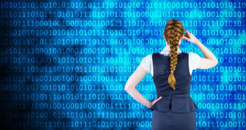 Σύνθετη εικόνα της redhead επιχειρηματία που γρατσουνίζει το κεφάλι της στοκ φωτογραφία