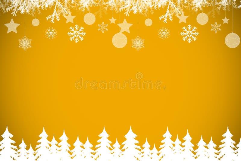 Σύνθετη εικόνα του δάσους και snowflakes δέντρων έλατου απεικόνιση αποθεμάτων