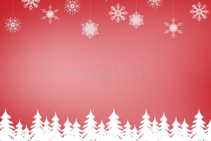 Σύνθετη εικόνα του δάσους και snowflakes δέντρων έλατου ελεύθερη απεικόνιση δικαιώματος