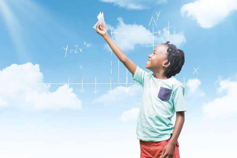 Σύνθετη εικόνα του αεροπλάνου εγγράφου εκμετάλλευσης παιδιών στοκ εικόνα