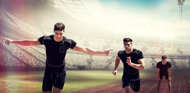 Σύνθετη εικόνα του αθλητικού τύπου που θέτει τα χέρια του στο γόνατο στοκ φωτογραφία με δικαίωμα ελεύθερης χρήσης