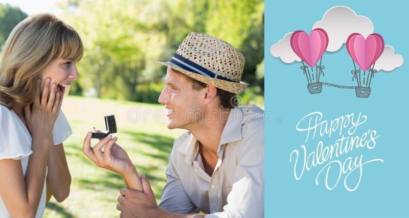 Σύνθετη εικόνα του ατόμου που εκπλήσσει τη φίλη του με μια πρόταση στο πάρκο διανυσματική απεικόνιση