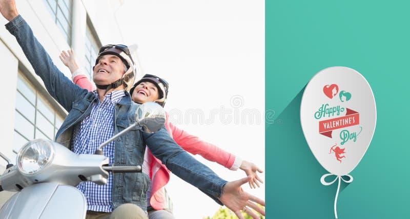 Σύνθετη εικόνα του ευτυχούς ανώτερου ζεύγους που οδηγά ένα μοτοποδήλατο απεικόνιση αποθεμάτων