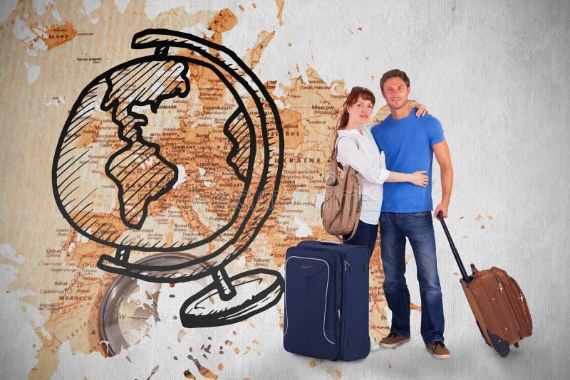 Σύνθετη εικόνα του ευτυχούς ζεύγους που πηγαίνει στις διακοπές στοκ φωτογραφίες