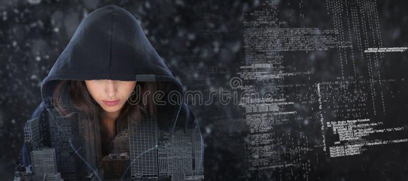 Σύνθετη εικόνα του θηλυκού κατασκόπου στο hoodie διανυσματική απεικόνιση