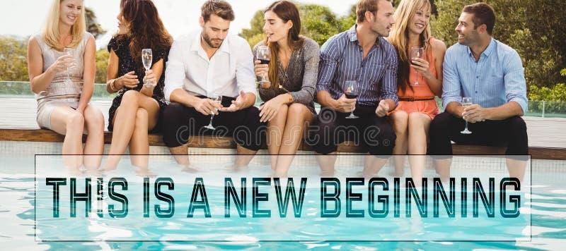 Σύνθετη εικόνα του κινητήριου νέου μηνύματος ετών στοκ εικόνες