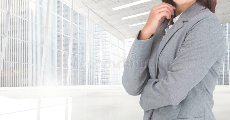 Σύνθετη εικόνα του κορμού επιχειρηματιών ενάντια στη σύγχρονη θέση διανυσματική απεικόνιση