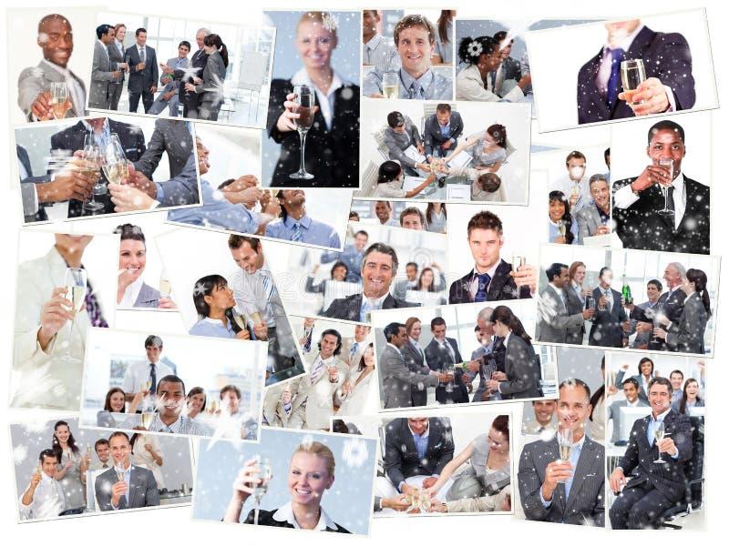 Σύνθετη εικόνα του κολάζ των επιχειρηματιών που ψήνουν και που πίνουν τη σαμπάνια στοκ εικόνες