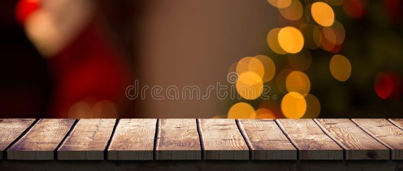 Σύνθετη εικόνα του ξύλινου γραφείου διανυσματική απεικόνιση