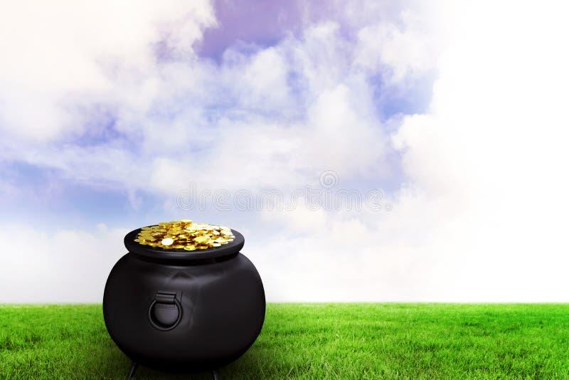 Σύνθετη εικόνα του δοχείου του χρυσού απεικόνιση αποθεμάτων