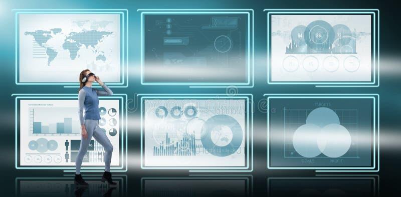 Σύνθετη εικόνα του πλήρους μήκους της μοντέρνης γυναίκας που φορά το γυαλί εικονικής πραγματικότητας απεικόνιση αποθεμάτων