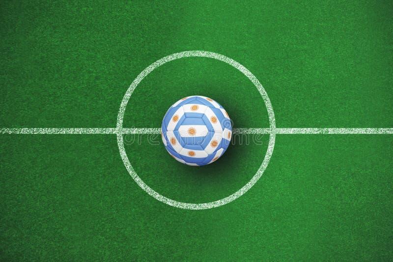 Σύνθετη εικόνα του ποδοσφαίρου στα αργεντινά χρώματα απεικόνιση αποθεμάτων