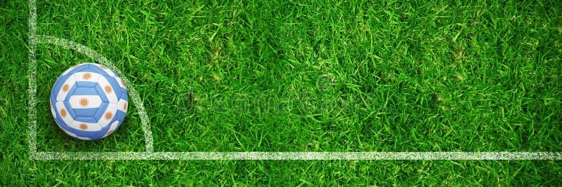 Σύνθετη εικόνα του ποδοσφαίρου στα αργεντινά χρώματα ελεύθερη απεικόνιση δικαιώματος