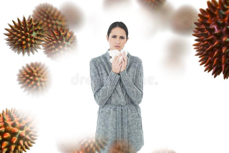 Σύνθετη εικόνα του πορτρέτου μιας περιστασιακής νέας γυναίκας που πάσχει από το κρύο στοκ εικόνα με δικαίωμα ελεύθερης χρήσης