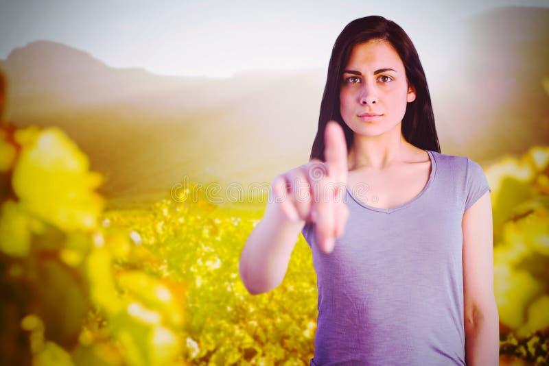 Σύνθετη εικόνα του πορτρέτου της νέας υπόδειξης γυναικών στοκ φωτογραφίες με δικαίωμα ελεύθερης χρήσης