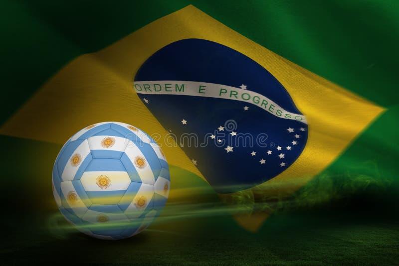 Σύνθετη εικόνα του ποδοσφαίρου στα αργεντινά χρώματα διανυσματική απεικόνιση