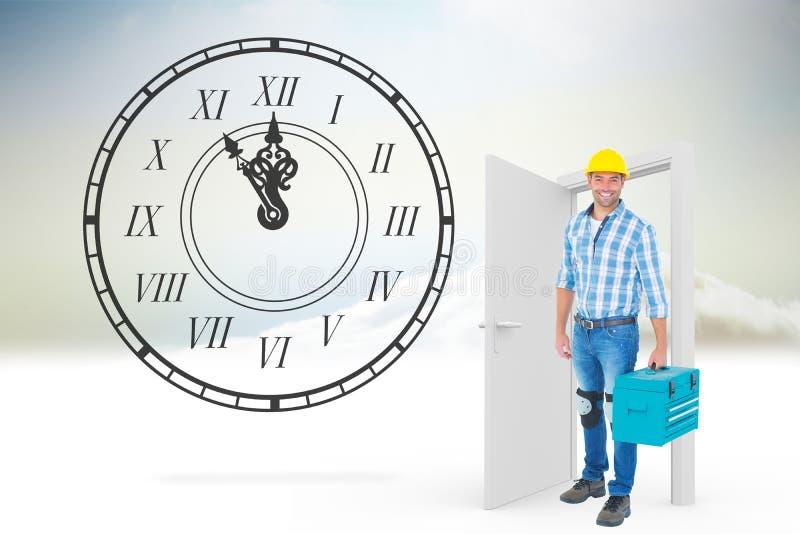 Σύνθετη εικόνα του πλήρους πορτρέτου μήκους του επισκευαστή με την εργαλειοθήκη στοκ εικόνα με δικαίωμα ελεύθερης χρήσης