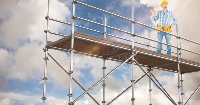 Σύνθετη εικόνα του στοχαστικού εργαζομένου που φέρνει τις ξύλινες σανίδες στοκ εικόνες