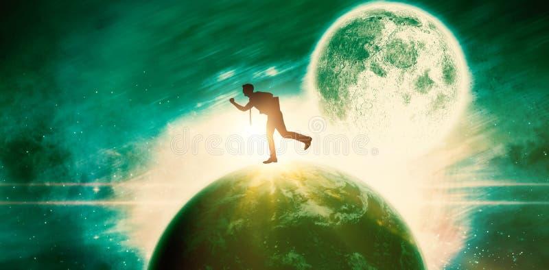 Σύνθετη εικόνα του τρέχοντας επιχειρηματία στοκ φωτογραφία με δικαίωμα ελεύθερης χρήσης