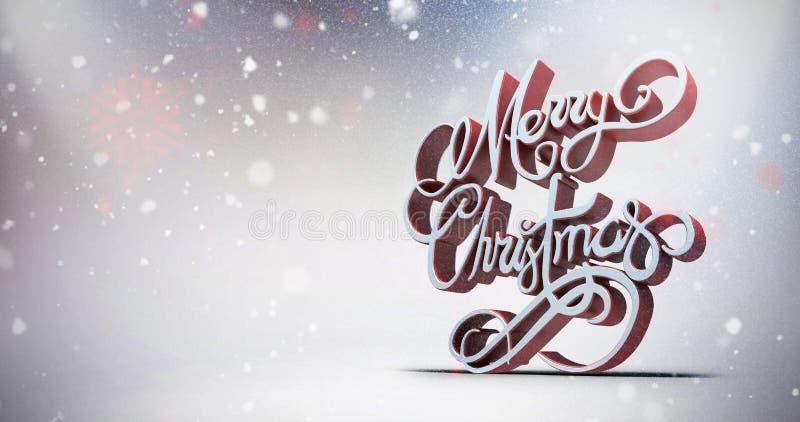 Σύνθετη εικόνα του τρισδιάστατου κειμένου της Χαρούμενα Χριστούγεννας στο άσπρο και κόκκινο χρώμα ελεύθερη απεικόνιση δικαιώματος