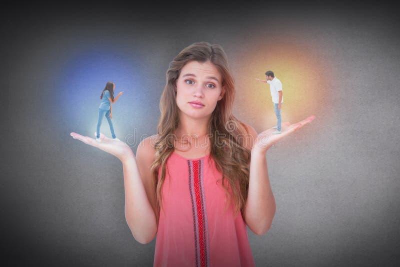 Σύνθετη εικόνα του υ ζεύγους που φωνάζει το ένα στο άλλο στοκ εικόνα