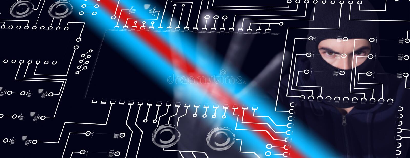Σύνθετη εικόνα του χάκερ balaclava που και που εξετάζει τη κάμερα διανυσματική απεικόνιση