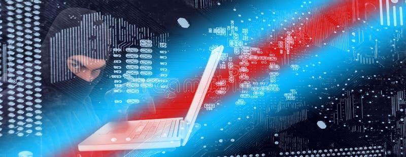 Σύνθετη εικόνα του χάκερ balaclava που στέκεται και που δακτυλογραφεί στο lap-top απεικόνιση αποθεμάτων