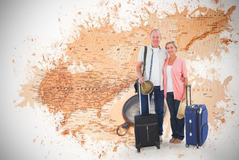 Σύνθετη εικόνα του χαμογελώντας παλαιότερου ζεύγους που πηγαίνει στις διακοπές τους στοκ εικόνες με δικαίωμα ελεύθερης χρήσης