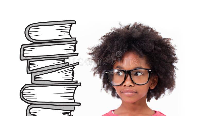 Σύνθετη εικόνα του χαριτωμένου μαθητή που φορά τα γυαλιά στοκ εικόνες