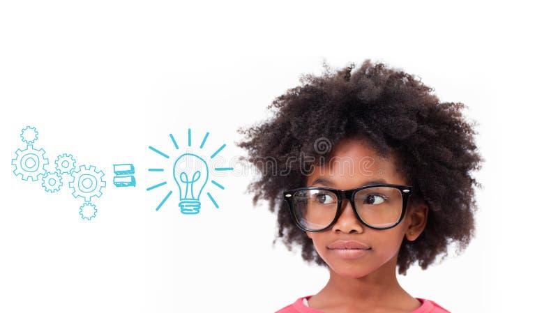 Σύνθετη εικόνα του χαριτωμένου μαθητή που φορά τα γυαλιά στοκ εικόνες με δικαίωμα ελεύθερης χρήσης