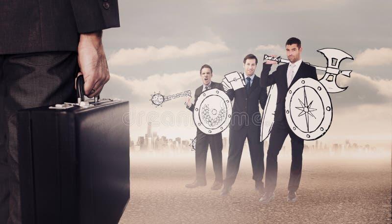 Σύνθετη εικόνα του χαρτοφύλακα εκμετάλλευσης επιχειρηματιών στοκ φωτογραφίες