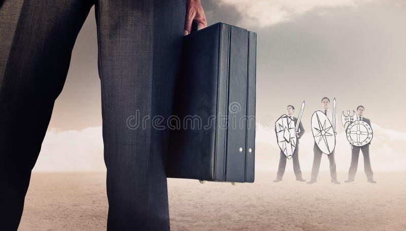 Σύνθετη εικόνα του χαρτοφύλακα εκμετάλλευσης επιχειρηματιών στοκ εικόνα
