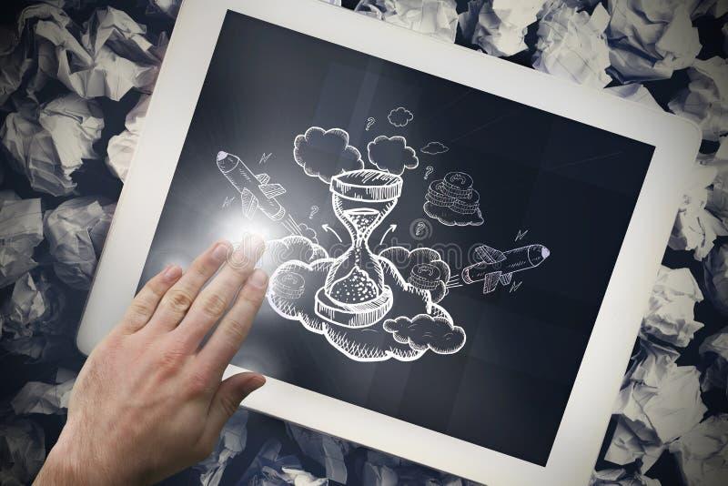 Σύνθετη εικόνα του χεριού σχετικά με την ταμπλέτα στοκ φωτογραφία με δικαίωμα ελεύθερης χρήσης