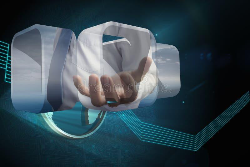 Σύνθετη εικόνα του χεριού businessmans στην αφηρημένη οθόνη στοκ φωτογραφία με δικαίωμα ελεύθερης χρήσης