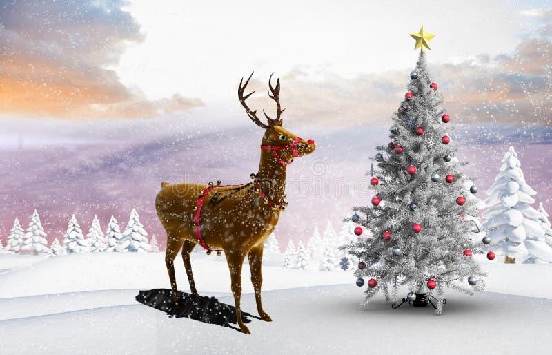 Σύνθετη εικόνα του χριστουγεννιάτικου δέντρου και του ταράνδου διανυσματική απεικόνιση