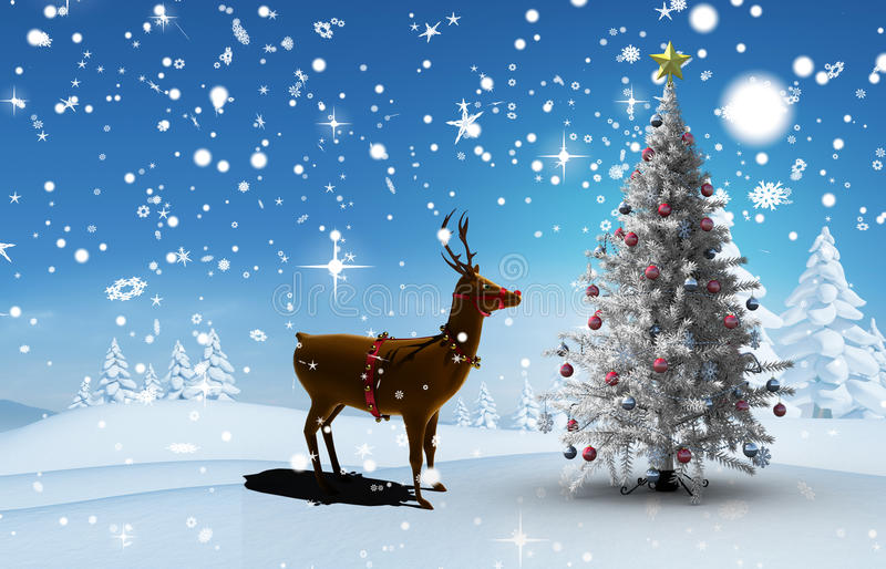 Σύνθετη εικόνα του χριστουγεννιάτικου δέντρου και του ταράνδου ελεύθερη απεικόνιση δικαιώματος
