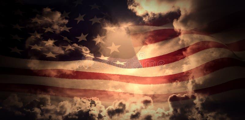 Σύνθετη εικόνα του ψηφιακά παραγμένου κυματισμού αμερικανικών σημαιών διανυσματική απεικόνιση