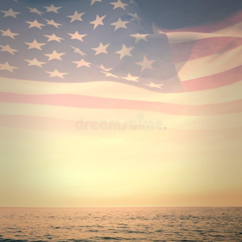 Σύνθετη εικόνα του ψηφιακά παραγμένου κυματισμού αμερικανικών σημαιών απεικόνιση αποθεμάτων