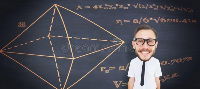 Σύνθετη εικόνα του geeky επιχειρηματία στοκ εικόνες