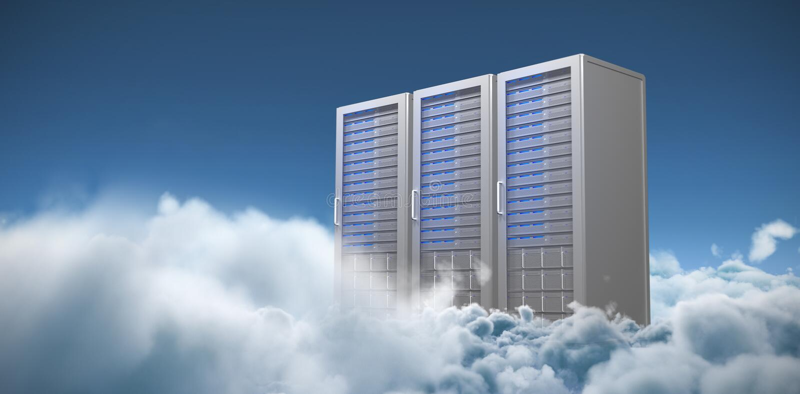 Σύνθετη εικόνα τριών ψηφιακών γκρίζων πύργων κεντρικών υπολογιστών διανυσματική απεικόνιση
