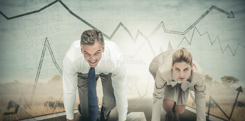 Σύνθετη εικόνα των επιχειρηματιών έτοιμων να αρχίσουν τη φυλή στοκ εικόνες