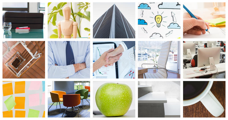 Σύνθετη εικόνα των επιχειρηματιών που επιτυγχάνουν μια συμφωνία στοκ εικόνα