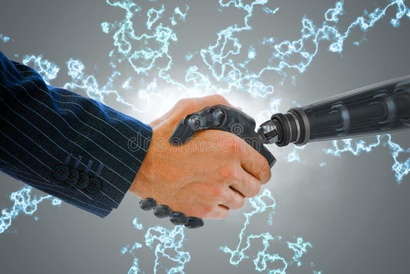 Σύνθετη εικόνα των καλλιεργημένων χεριών της συναλλαγής ρομπότ και επιχειρηματιών στοκ φωτογραφία