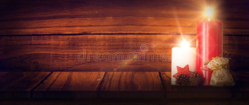 Σύνθετη εικόνα των κεριών Χριστουγέννων διανυσματική απεικόνιση
