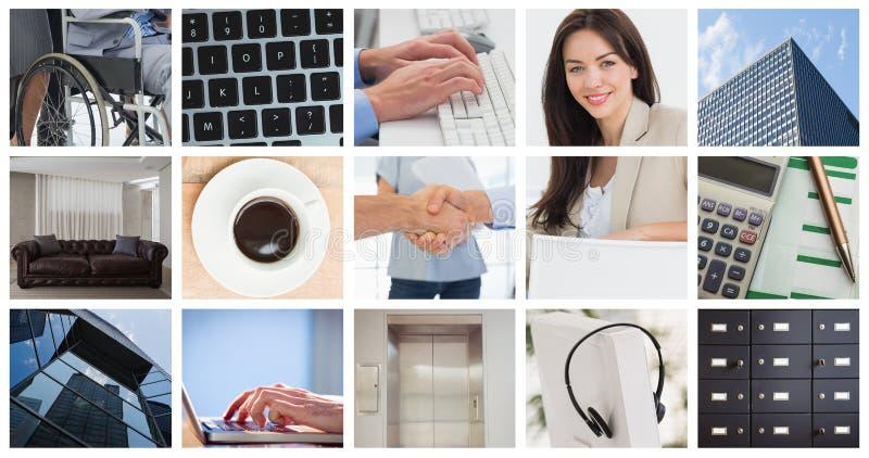 Σύνθετη εικόνα των περιστασιακών επιχειρηματιών που τινάζουν τα χέρια στοκ εικόνα