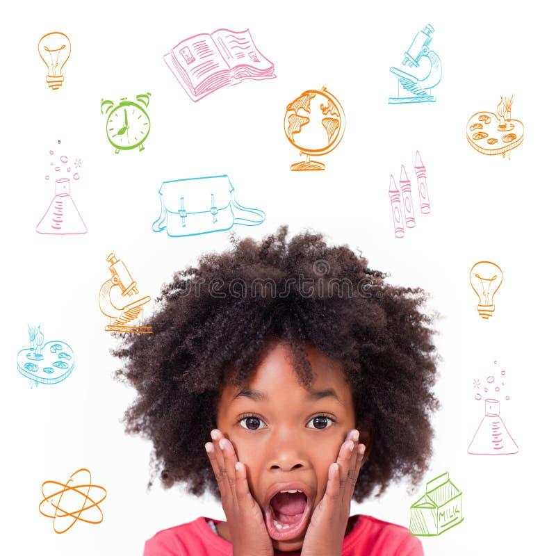 Σύνθετη εικόνα των σχολικών θεμάτων doodles στοκ φωτογραφία