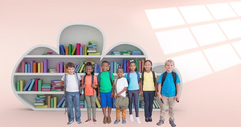 Σύνθετη εικόνα των χαριτωμένων μαθητών που χαμογελούν στη κάμερα στοκ εικόνες με δικαίωμα ελεύθερης χρήσης